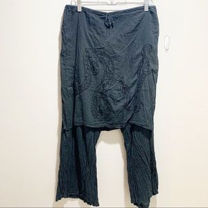KARMA HIGHWAY Skirted Drawstring Embroidered Pants